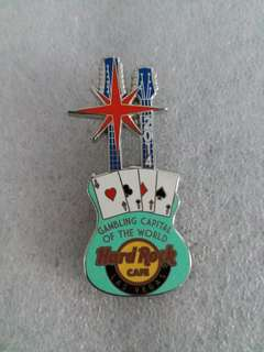 Hard Rock Cafe Pins ~ LAS VEGAS HOT 2014 GAMBLING CAPITAL OF THE WORLD GUITAR PIN!