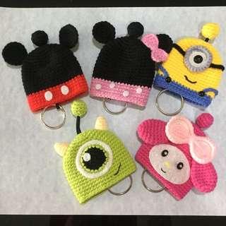 Handmade Crochet Key Cover ~ Minnie Mickey My Melody Minion Mike
