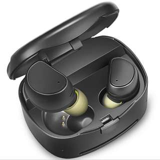 Truly wireless earphones, Bluetooth earphones with charging case