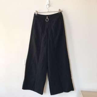 黑色寬褲 圓環拉鍊寬褲