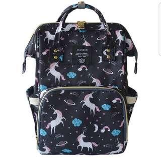 ❤ Fashionable Baby Diaper Bag / Mommy Nursing Bag ( Black-Unicorn)