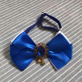 Handmade Blue Sapphire Bow Collar