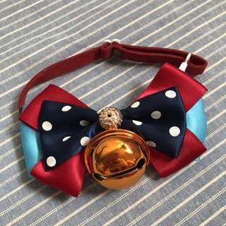 Handmade Polka Dot Big Bell Bow Collar