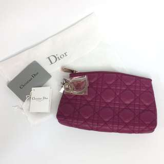 真品全新包裝未拆 Brand new Auth Christian Dior Lady Dior make up cosmetic bag 高貴氣質桃紅色化妝袋