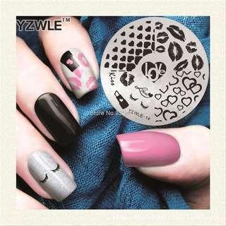 1pcs Nail Art Template Xmas Nail Stamping Plates Beauty Handle  heart lipstick kiss Designs Manicure Styling Tools YZWLE14