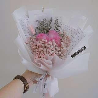 Pink Kenya Rose Hand Bouquet