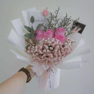 Pink Kenya Rose Hand Bouquet (Deluxe)