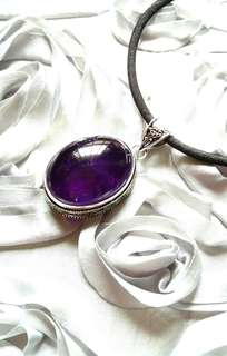 """Lovely Large Anique Design Amethyst Pendant. 1.88"""" Set in 925 Silver."""