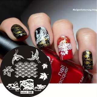 #048 Round Nail Art Stamp Stamping Plates Template Crane House Leaves Pavilion Nail Art Stamp Template Image Plate hehe048
