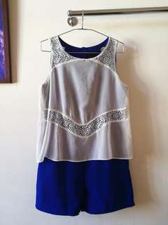 Blue with white lace rompers