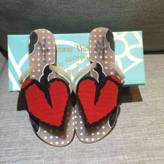 Vivien Westwood二手大愛心夾腳拖鞋