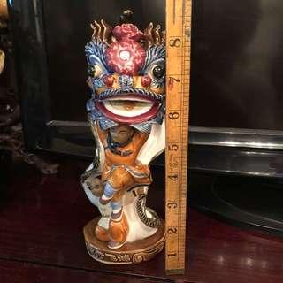 Chinese Lion Dragon Dance Ceramic Figurine