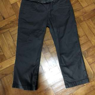 Espirt capri pants in dark brown