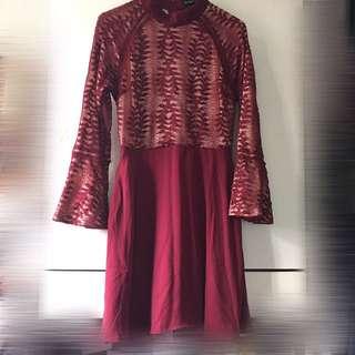 Zalora red lace dress 紅色蕾絲裙