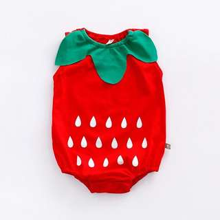 🐰Instock - strawberry romper, baby infant toddler girl boy children glad cute 123456789 lalalala