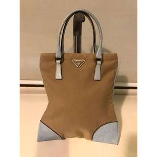 Prada Canvas and Leather Tote in Blue and Beige