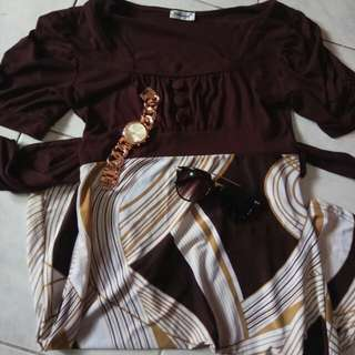 Brown printed sunday dress