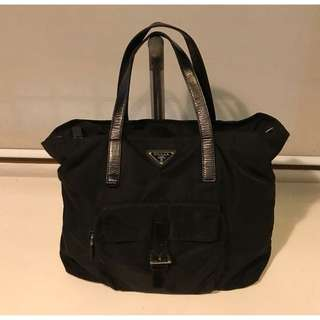 Prada Tessuto Tote with Leather Handles in Black