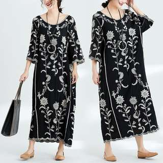 Plus Size Spring and summer new cotton women's ethnic embroidery flower retro seven sleeves long skirt