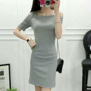 Grey Korean Dress Off Shoulders Cold Shoulders Dress