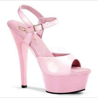 Pink pleaser heels, platform sandals