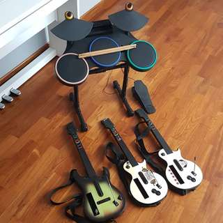Wii Guitar Hero Drum set with 3 guitars