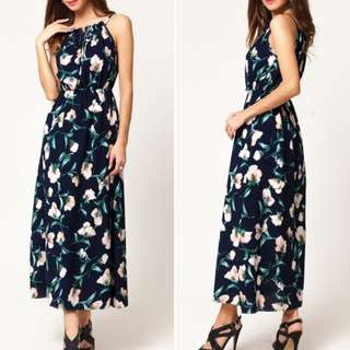 Bohemian Style Floral Printing Straps Long Dresses