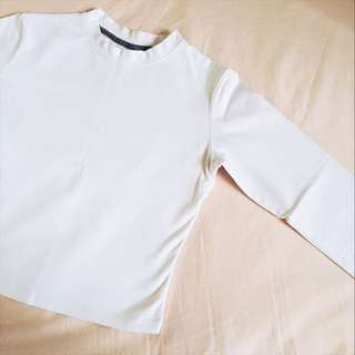 Long Sleeved Crop Top in White