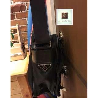 Prada Nylon Messenger Bag in Black
