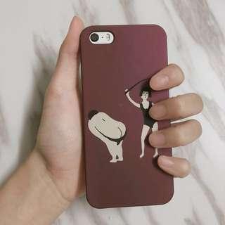 iPhone5/5s/se 手機殼硬殼半包邊酒紅ins風趣怪人兒