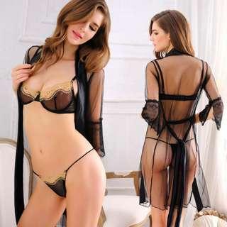 160 透明誘惑網紗性感睡衣三件套內衣套裝