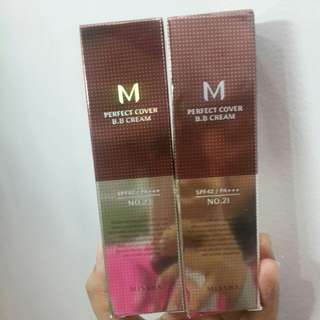 Missha perfect cover B.B cream no 21&23