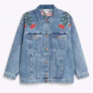 Monki Denim Jacket: floral embroidery