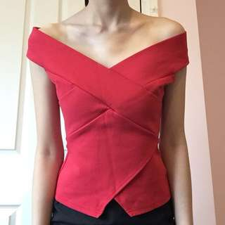 BNWT red off shoulder wrap top
