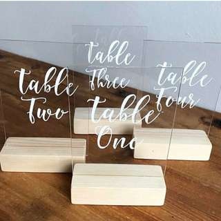 Perspex table numbers