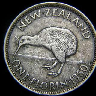 1950年英屬紐西蘭(New Zealand)奇偉鳥1科連Florin(2先令)鎳幣(英皇佐治六世像)