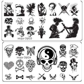 1Pcs Halloween Style Nail Stamping Plates Skull Image  Stamping Nail Art Manicure Template Nail Stamp Tools
