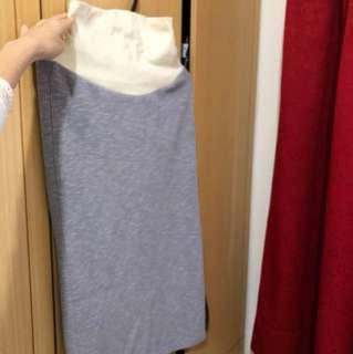 孕婦針織膝下窄裙