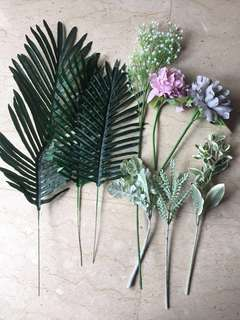 Fake flower and ferns starting from $3
