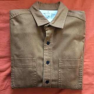 Muji work shirt work jacket brown