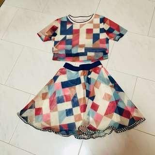 2 piece Colorful Block Net / Mesh Dress