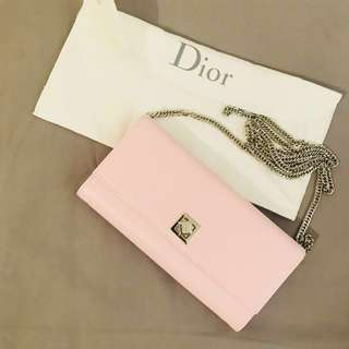 Dior Calfskin wallet on chain pink color