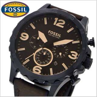Fossil Men's JR1487 Nate Brown Leather Strap Watch