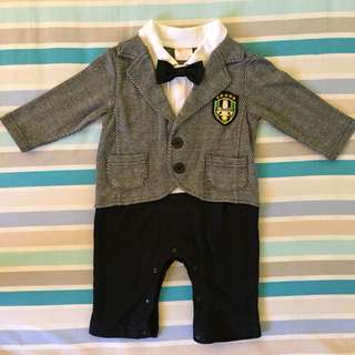 Baby formal coat with bow tie bodysuit for 6-12mos