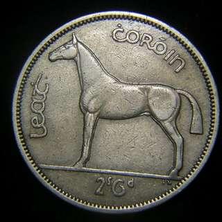1962年愛爾蘭共和國(Ireland)豎琴國徽運動馬2先令6便士鎳幣,