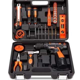 Professional Household Tools Set with Cordless 12v Lithium Drill