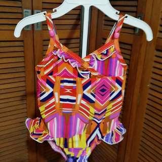 Orange Abstract Print 1pc Bathing Suit