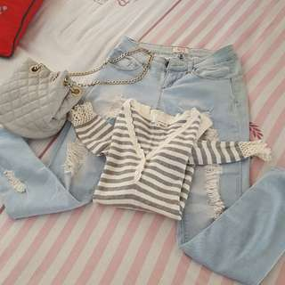 Bundle Crissa Rip Jeans With Top Sweatshirt Stripes Gray