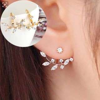0273F7r-Anting- Crystal Leaves Ears Plating Silver Gold