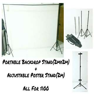 All For $100! Portable Backdrop Stand + Poster Stand(Photobooth) With Bag